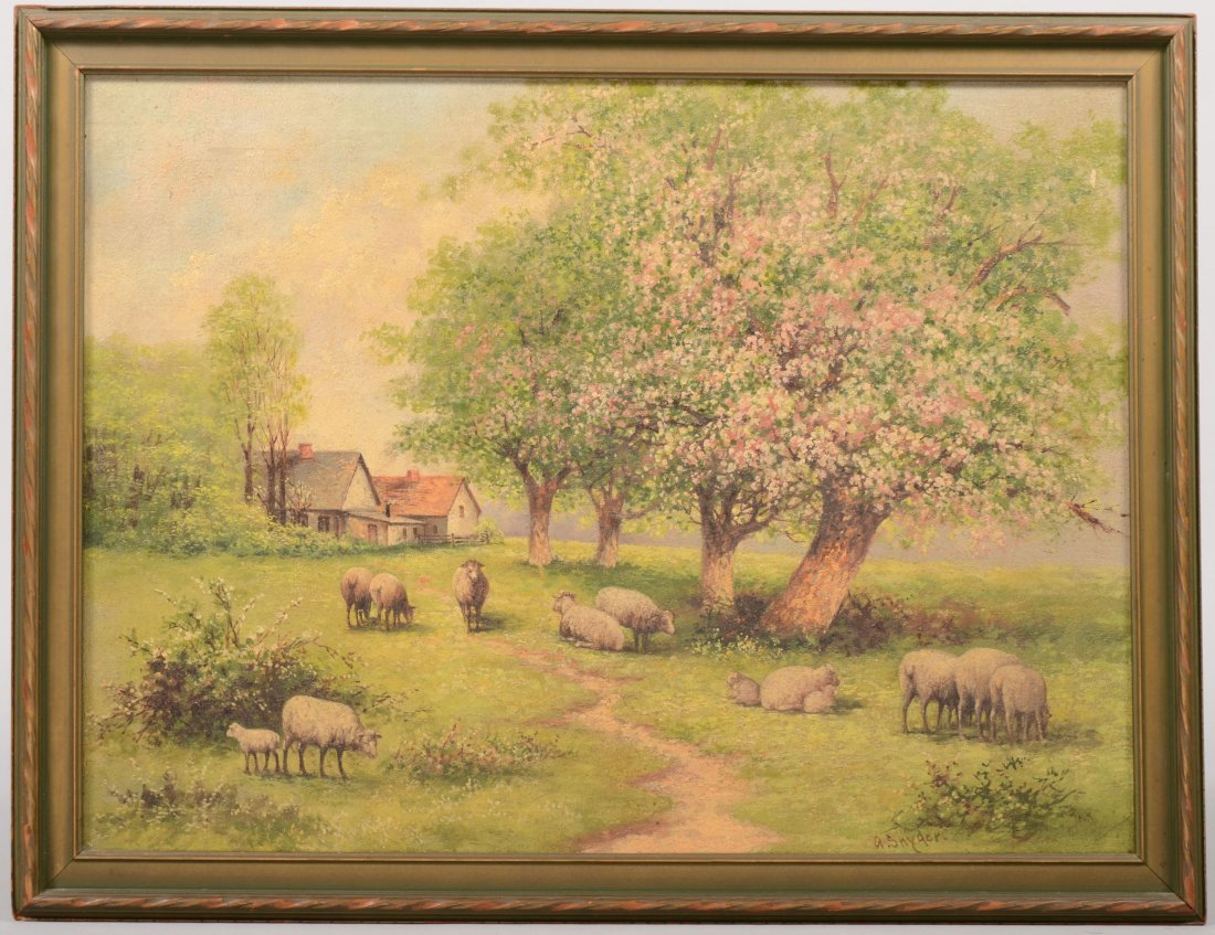 69: Pasrtral Painting of Sheep in an Old Orchard, Oil o
