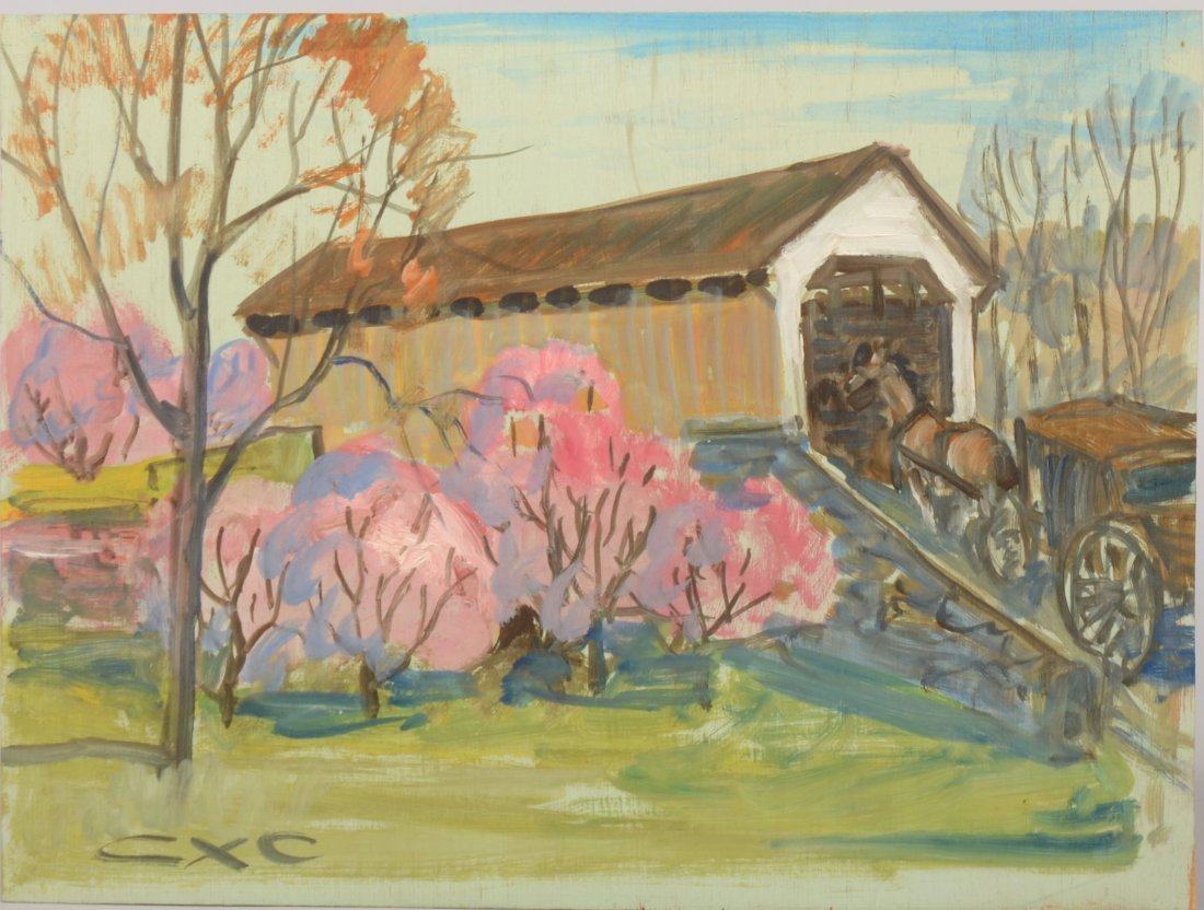 70: Buggy Entering a Covered Bridge, Acrylic on Plywood