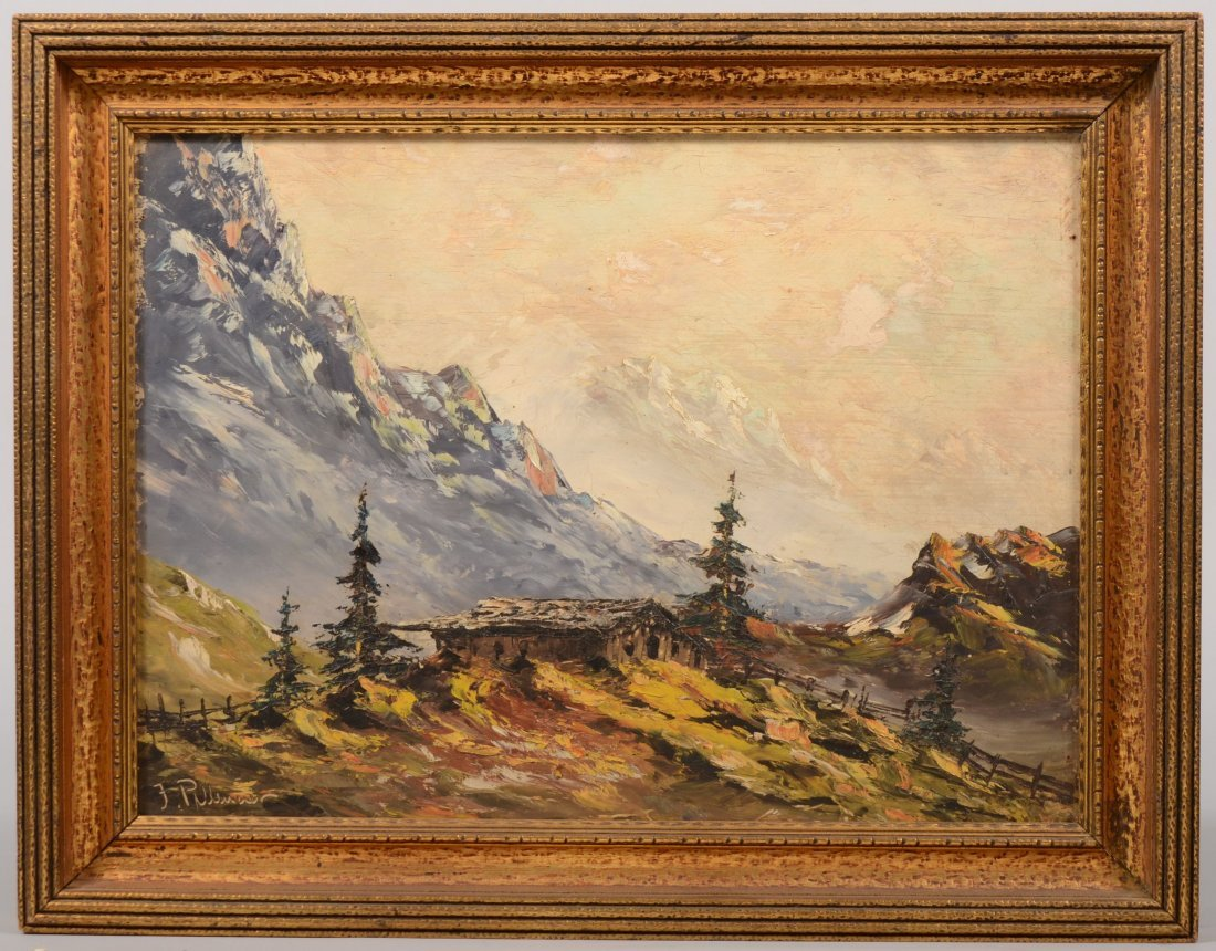 71: Alpine Cottage in the Mountains, Oil on Masonite. S