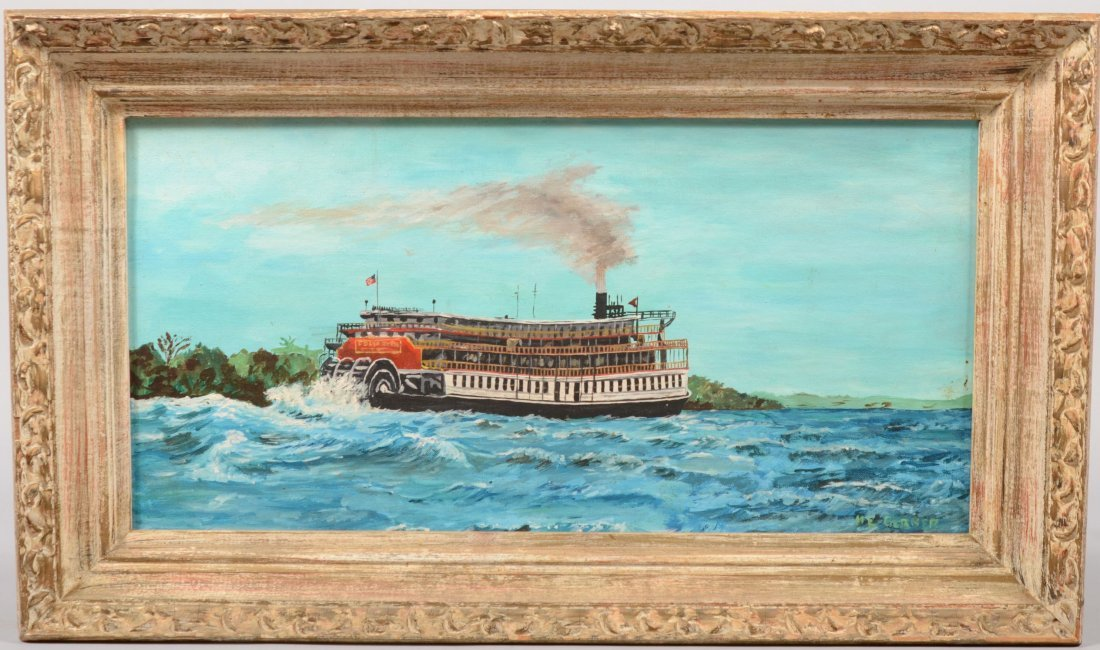 72: Stern Paddlewheel Steamboat on Water, Oil on Canvas