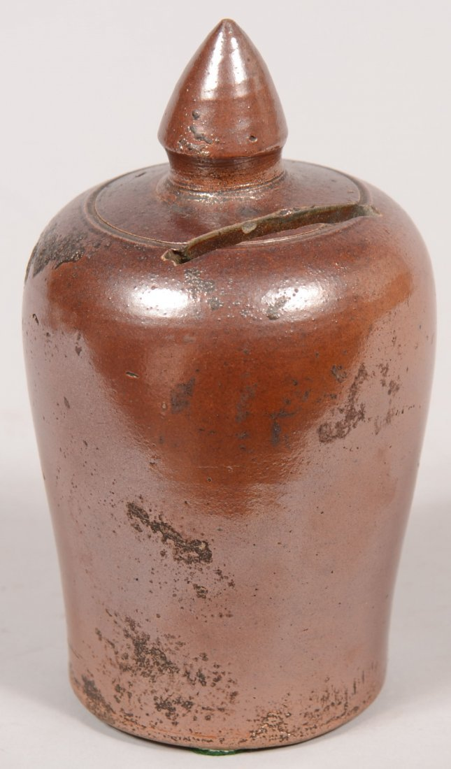 76: Brown Salt Glazed Stoneware Pottery Still Bank with