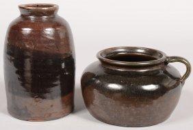 Two Brown Glazed Stoneware Pottery Vessels; Storage