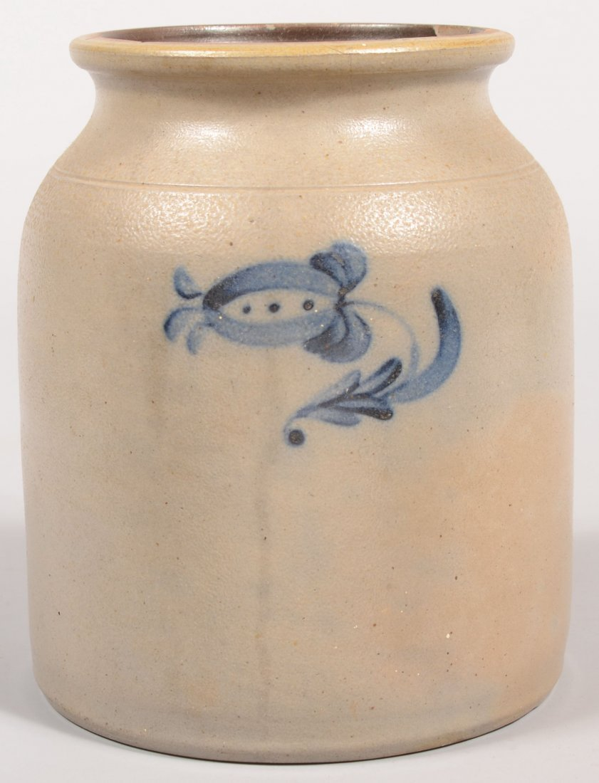 80: One Gallon Stoneware Crock with cobalt blue floral