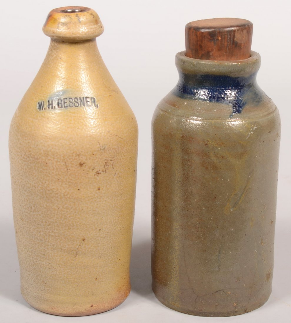 84: Two Glazed Stoneware Pottery Vessels; W. H. Gessner
