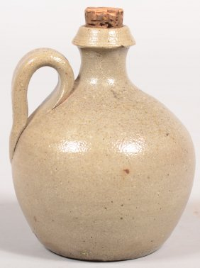 Small Salt Glazed Stoneware Pottery Squat Form Jug