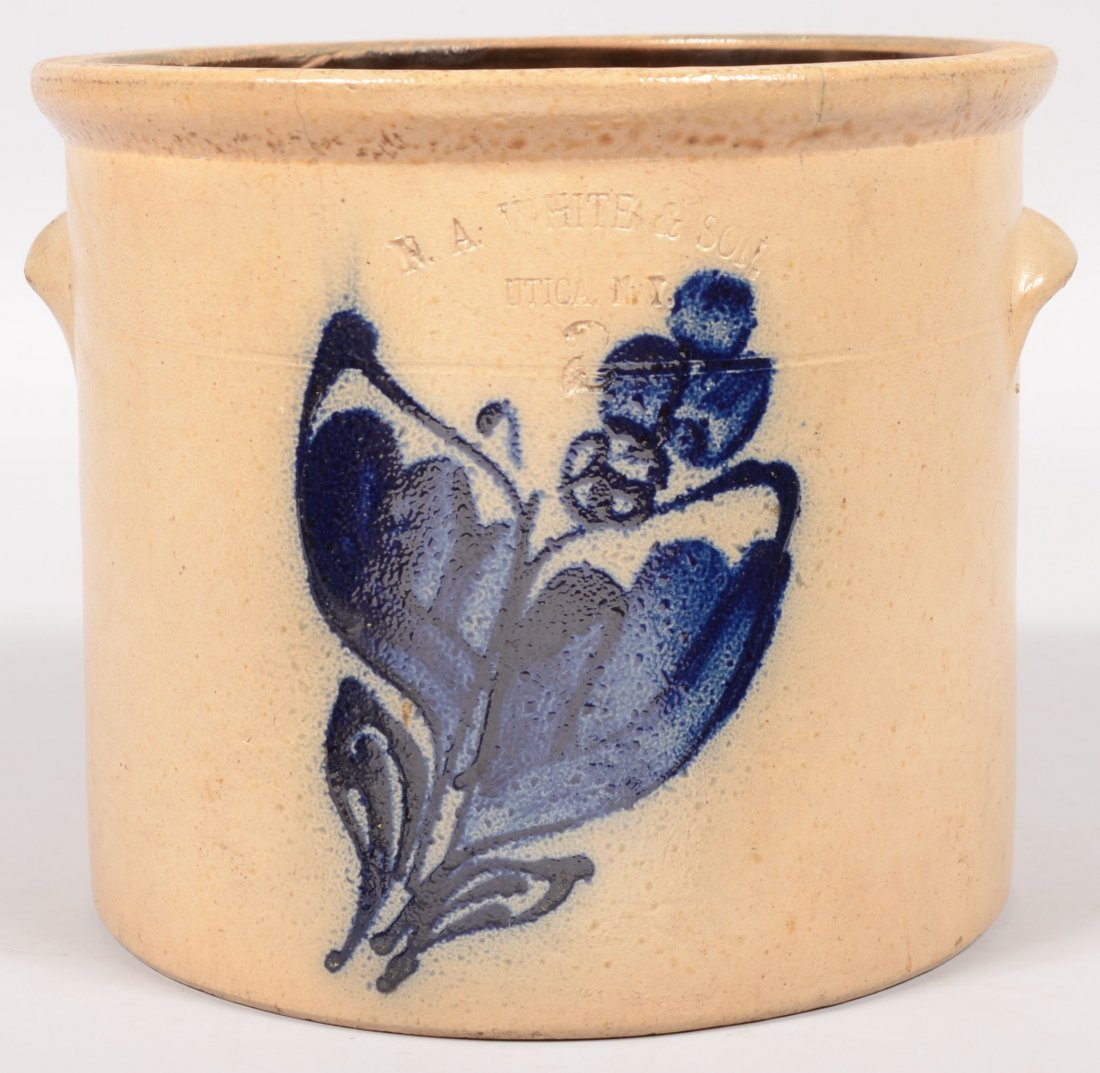 "86: Cobalt Decorated Utica, N. Y. Crock. Impressed ""N."