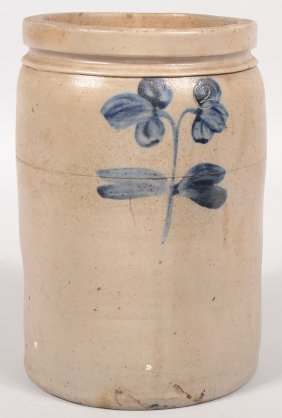 Straight Sided Crock With Cobalt Flowers. Three Set