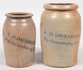 Two Stencil Marked Stoneware Canning Jars. Both Mar