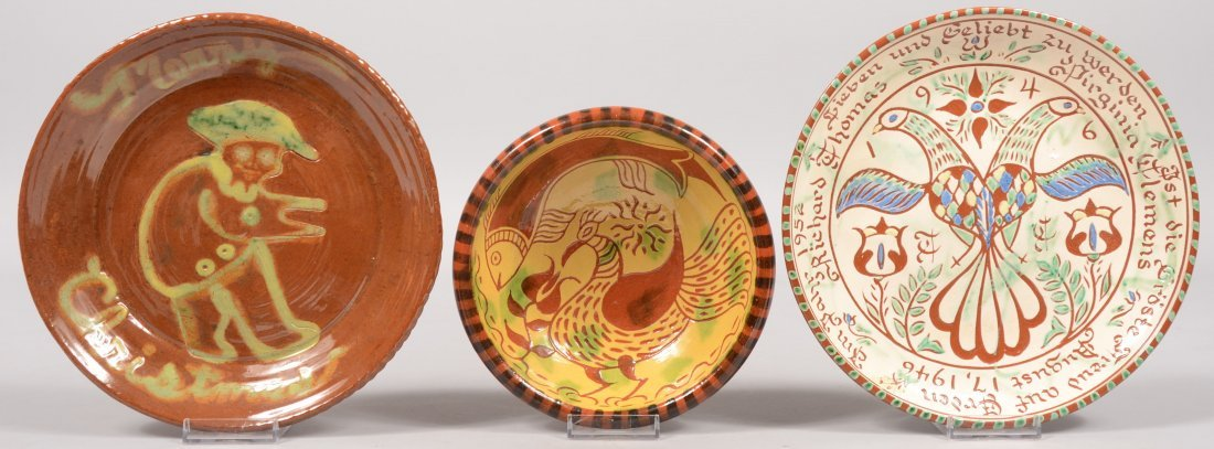 97: Three Slip Decorated Contemporary Redware Dishes. A