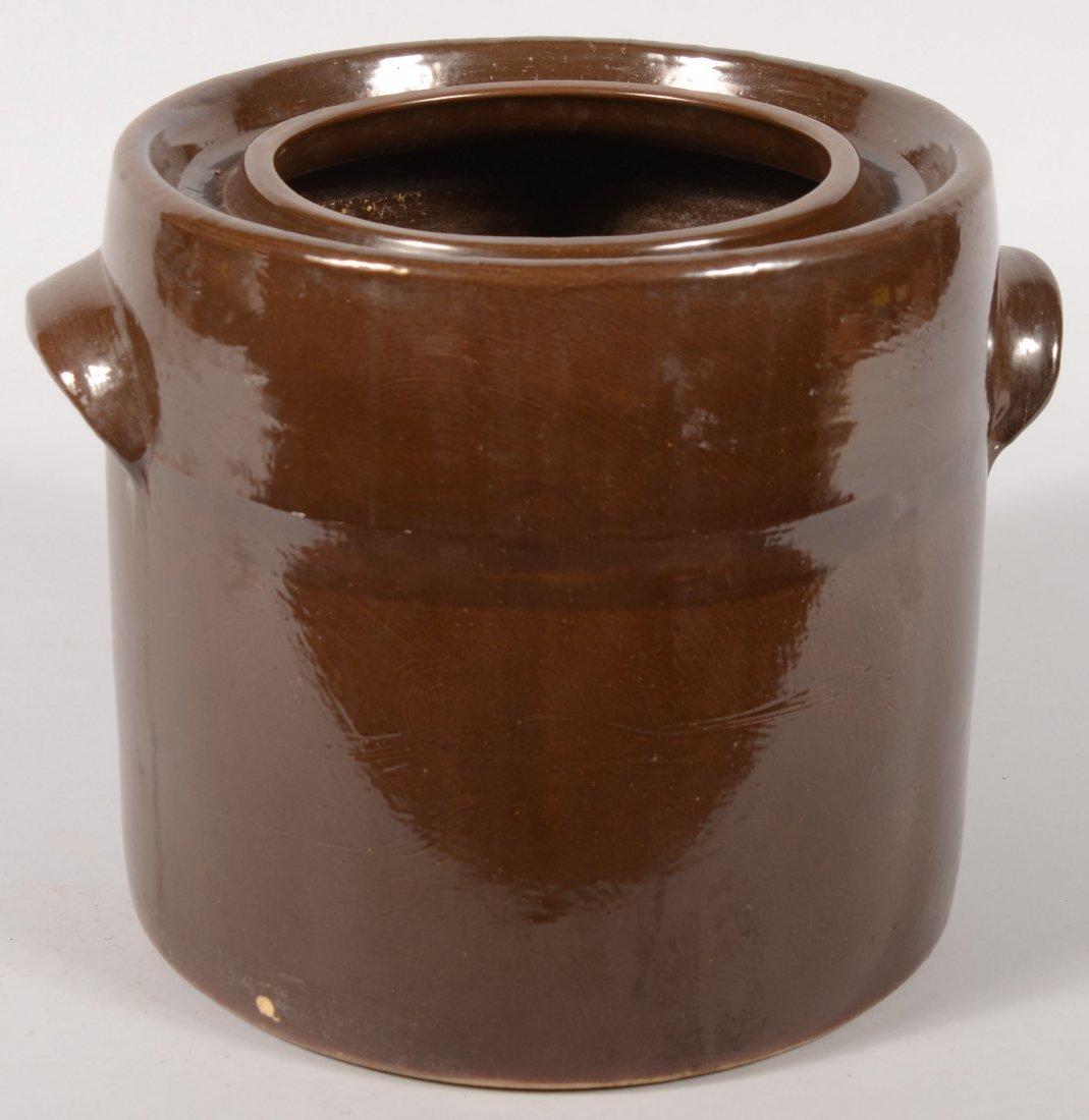 101: Manganese Glazed Canning Type Stoneware Jar. Large