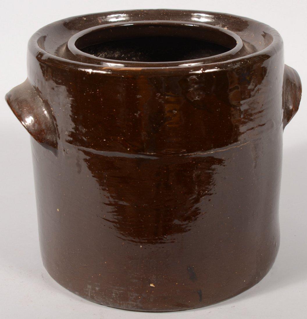 103: Manganese Glazed Canning Type Stoneware Jar. Large