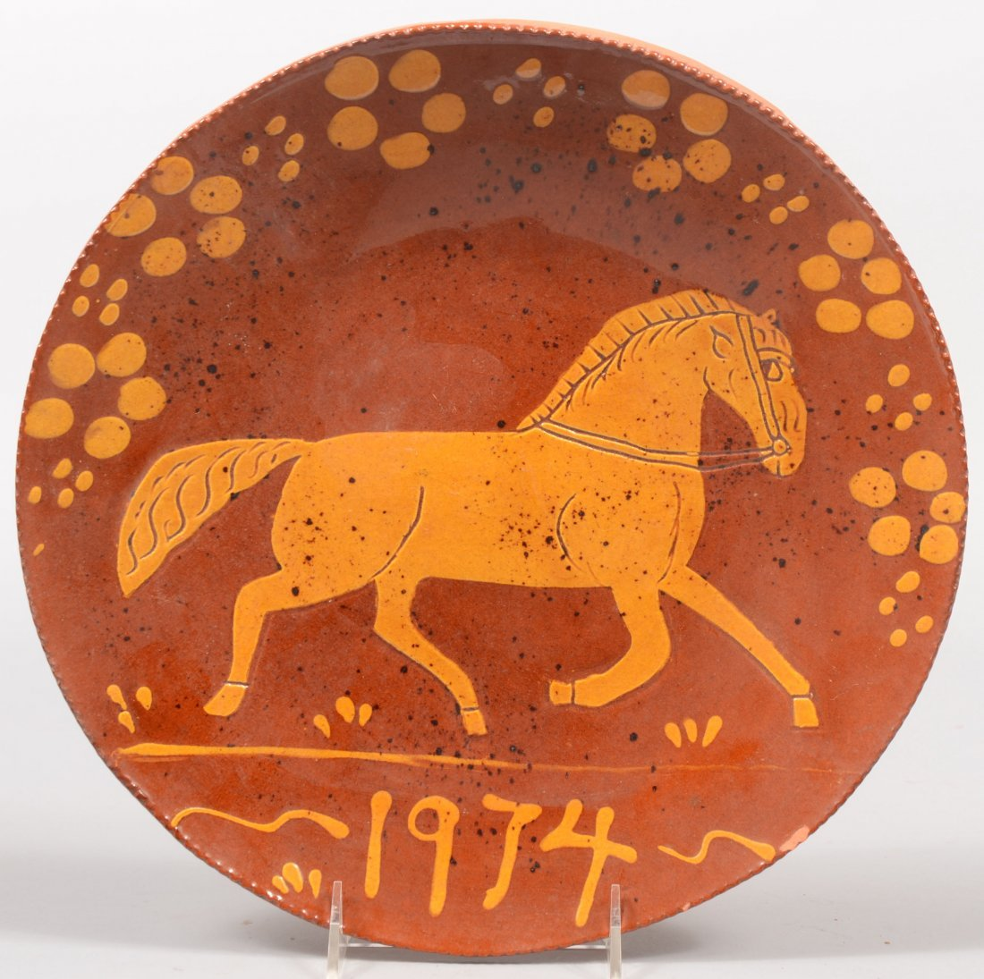 106: Contemporary Redware Charger by Lester Breininger.