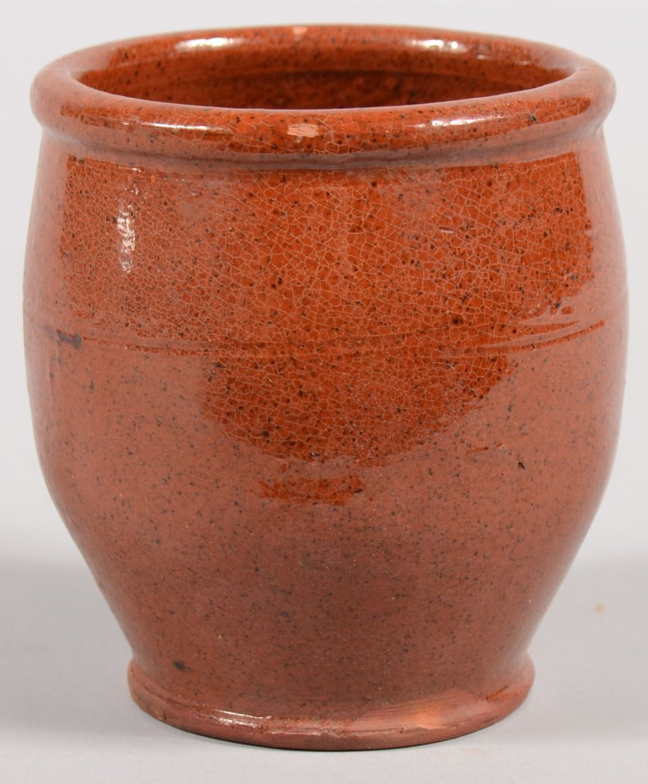 108: Small Redware Apple Butter Jar. Unmarked. Attribut