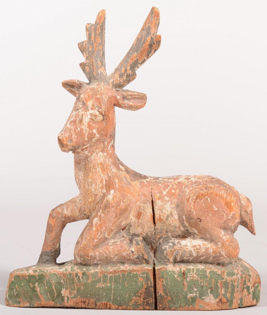 116: Folk Art Carved Wood Reclining Stag. Primitive car