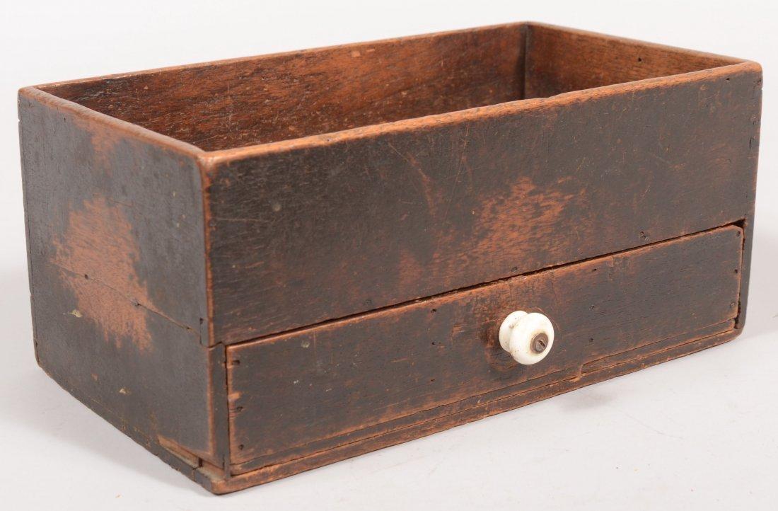 117: 19th Century Walnut Spice Box with original dark b