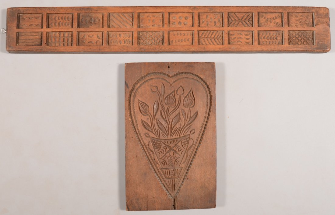 163: Two Hardwood Plank Carved Food Molds. A cookie mol