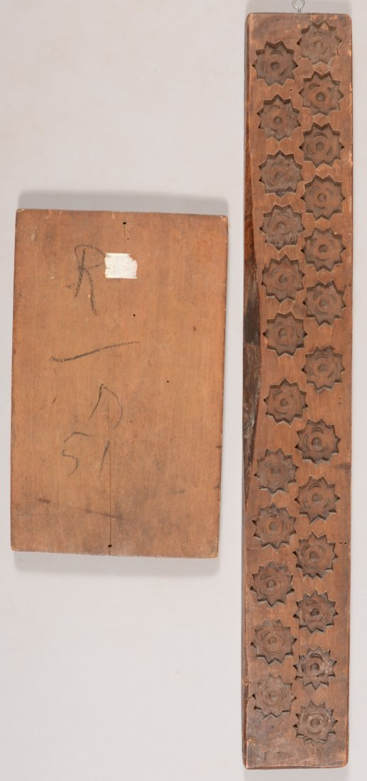 163: Two Hardwood Plank Carved Food Molds. A cookie mol - 2