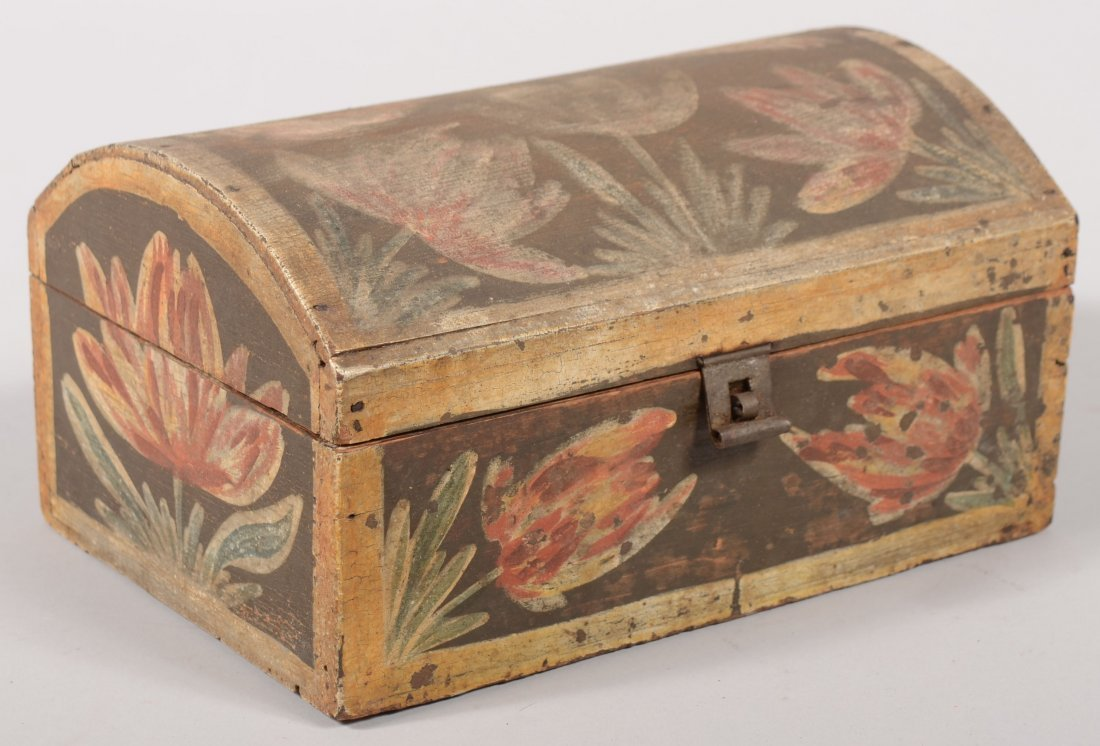 165: Paint Decorated Dome Lid Document Box, Attributed