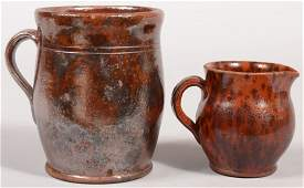 200 Two Pennsylvania 19th Century Mottled Glazed Redwa