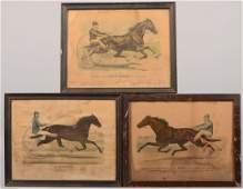 361 Three Color Lithographs of Trotters with Drivers