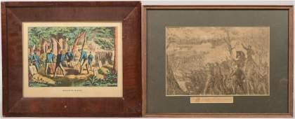 362 Two Civil War Prints A color lithograph titled