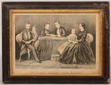 378 General Grant and Family BW Lithograph in Perio