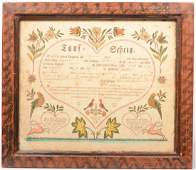 386 Ephrata Printed Taufschein with Watercolor Decorat