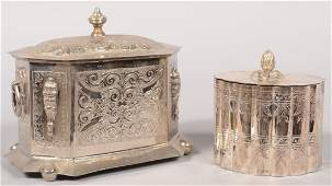 595 Two Engraved Silver Plated Hinged Lid Caddies Bot