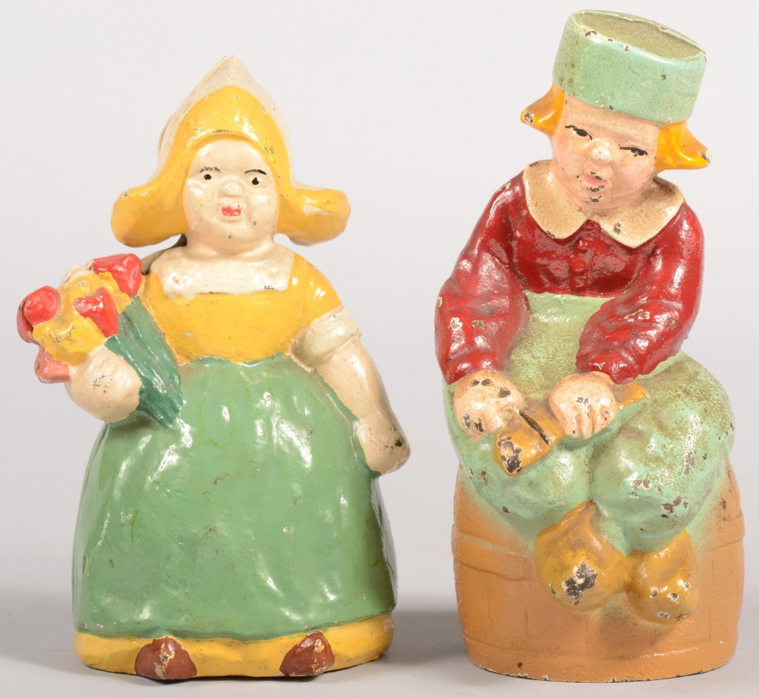 4: Hubley Dutch Boy and Dutch Girl Still Banks. Both pa