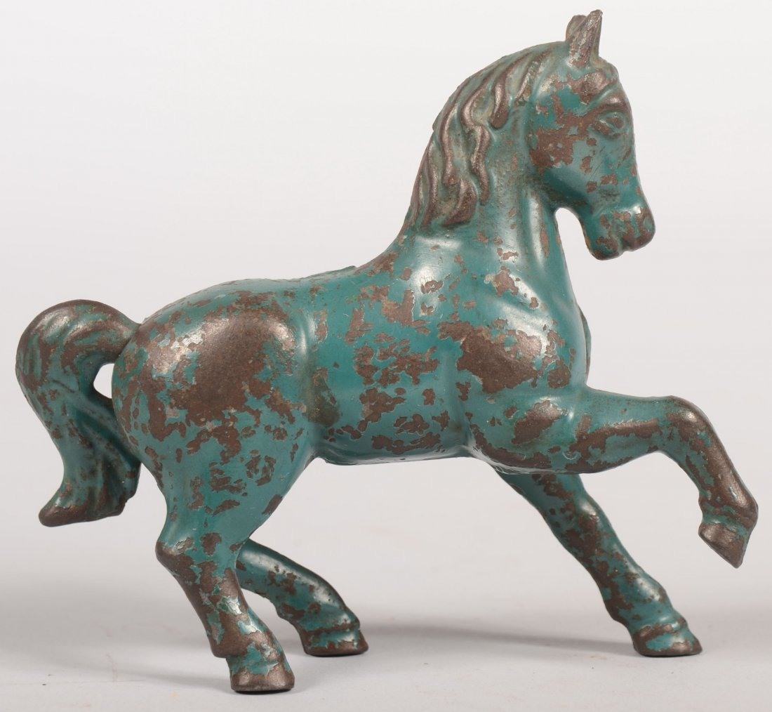 7: Prancing Horse Cast Iron Still Bank. Painted blue. P