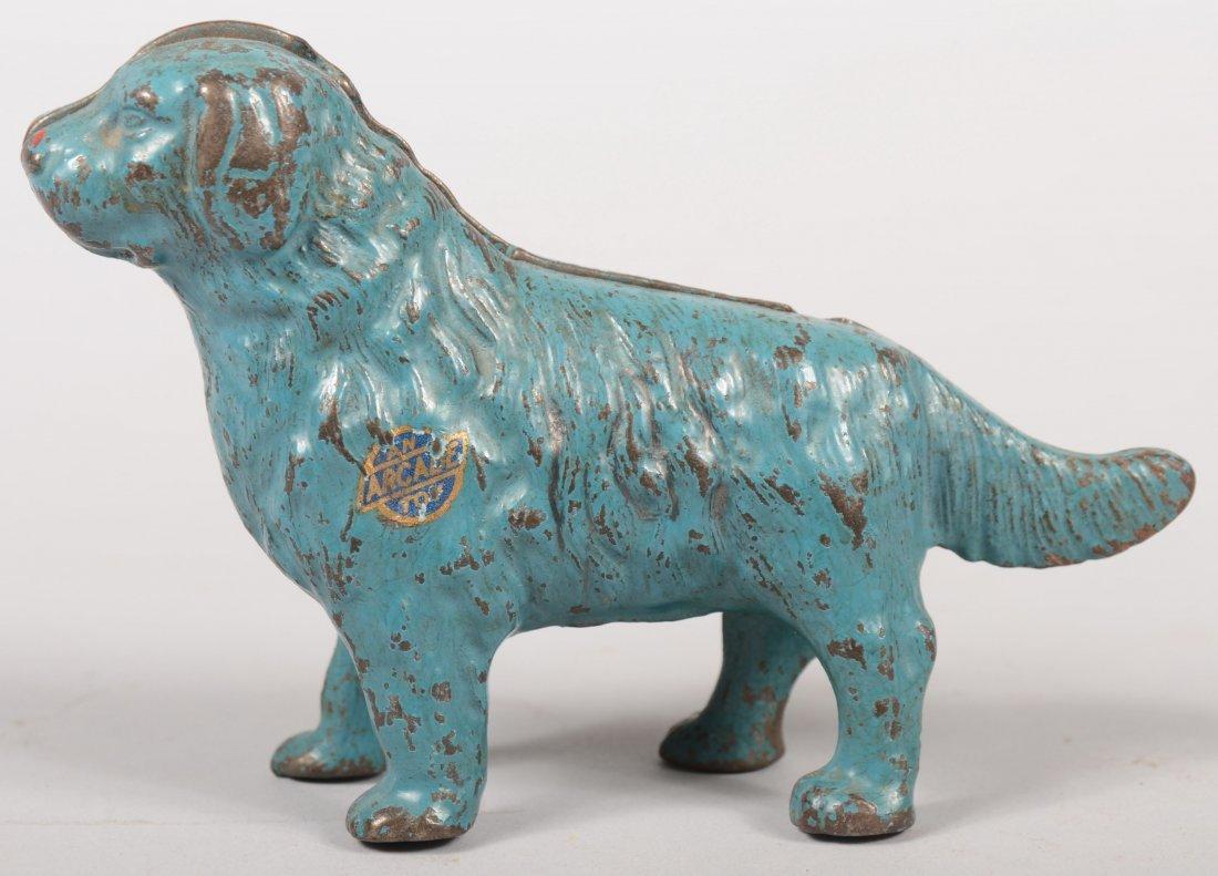 8: Blue Painted Cast Iron Newfoundland Dog Bank. Showin