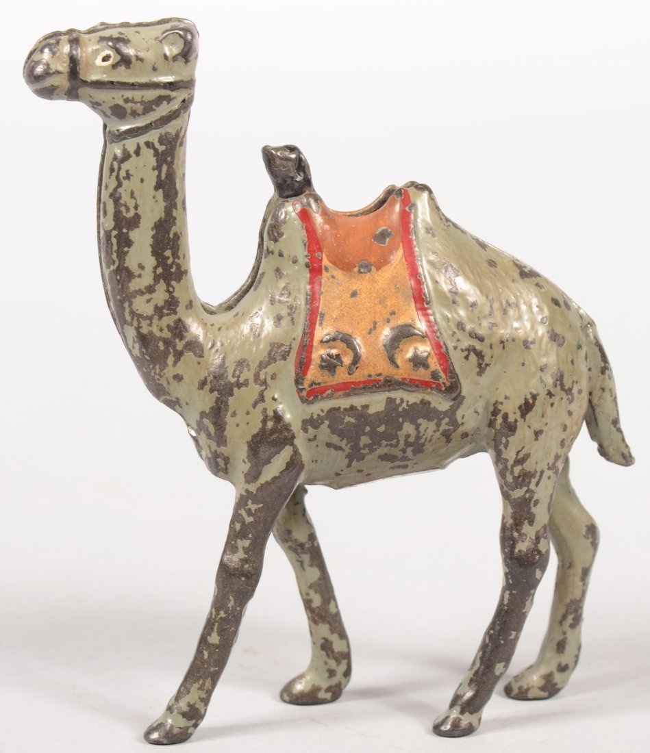 9: Painted Cast Iron Standing Camel Bank. Produced by H