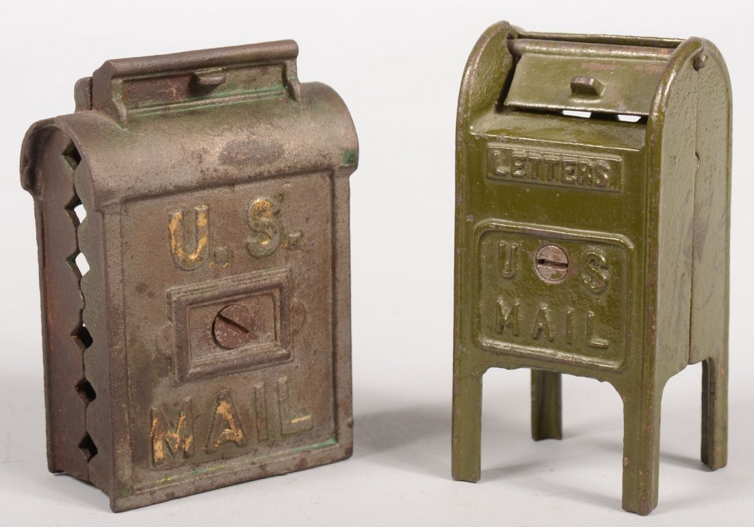 13: Two Painted Cast Iron Mailbox Still Banks. A small