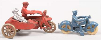 85 Two Painted Cast Iron Hubley Motorcycles A red CO