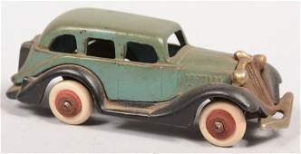 100: Hubley Green and Black Cast Iron Sedan. Green body