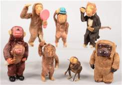 363: Seven Member Group of Wind-Up Monkeys. Six have fa