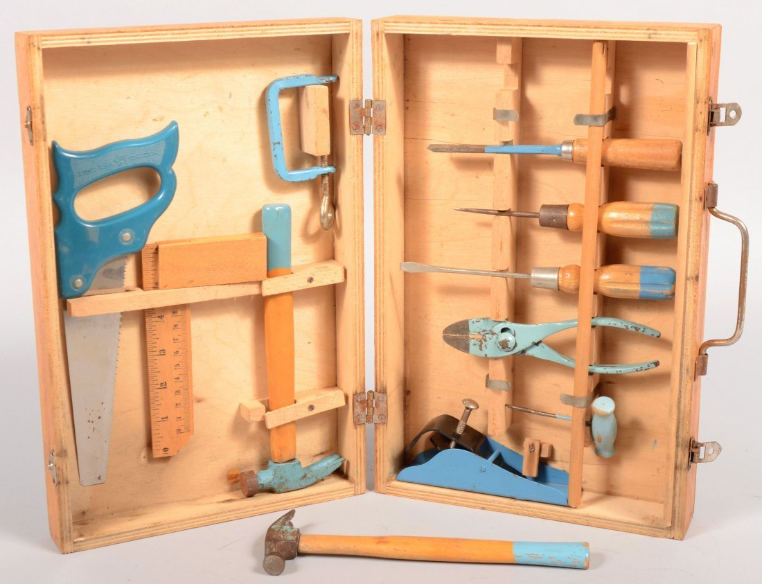 397: Eleven Piece Child's Tool Set in Fitted Wooden Cas