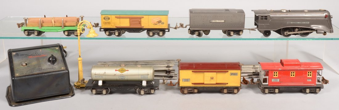 465: Seven Lionel 027 and O Gauge Cars. Including: Loco