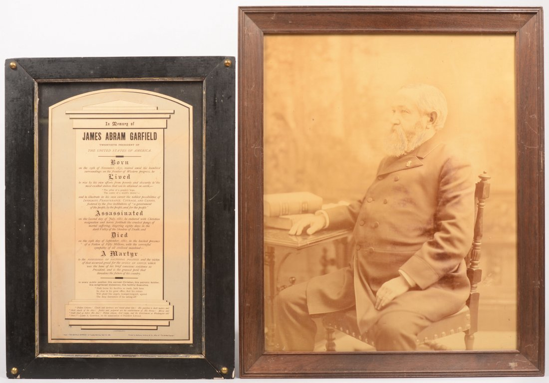 4: Two President James Garfield Framed Pieces. A large