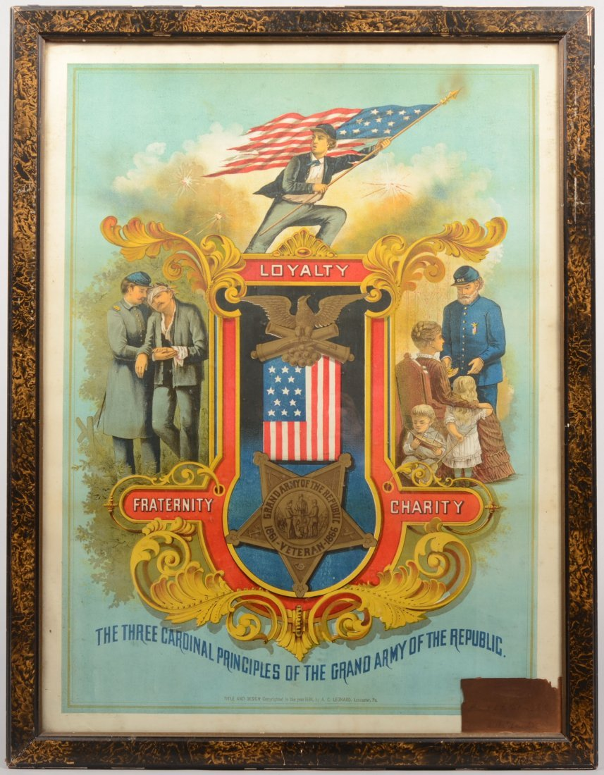 """9: GAR Color Lithographic Poster. """"Title and design cop"""
