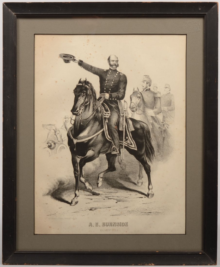 12: B&W Lithograph of Major Genl. A.E. Burnside on Hors