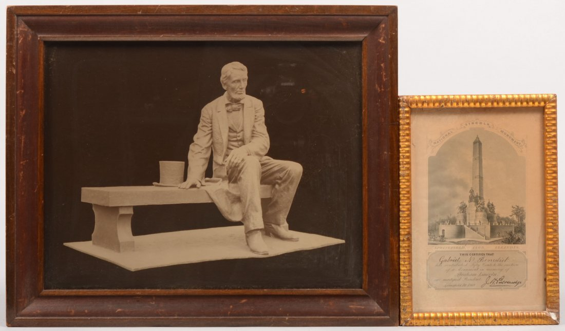 16: Two President Lincoln Related Prints. A photographi