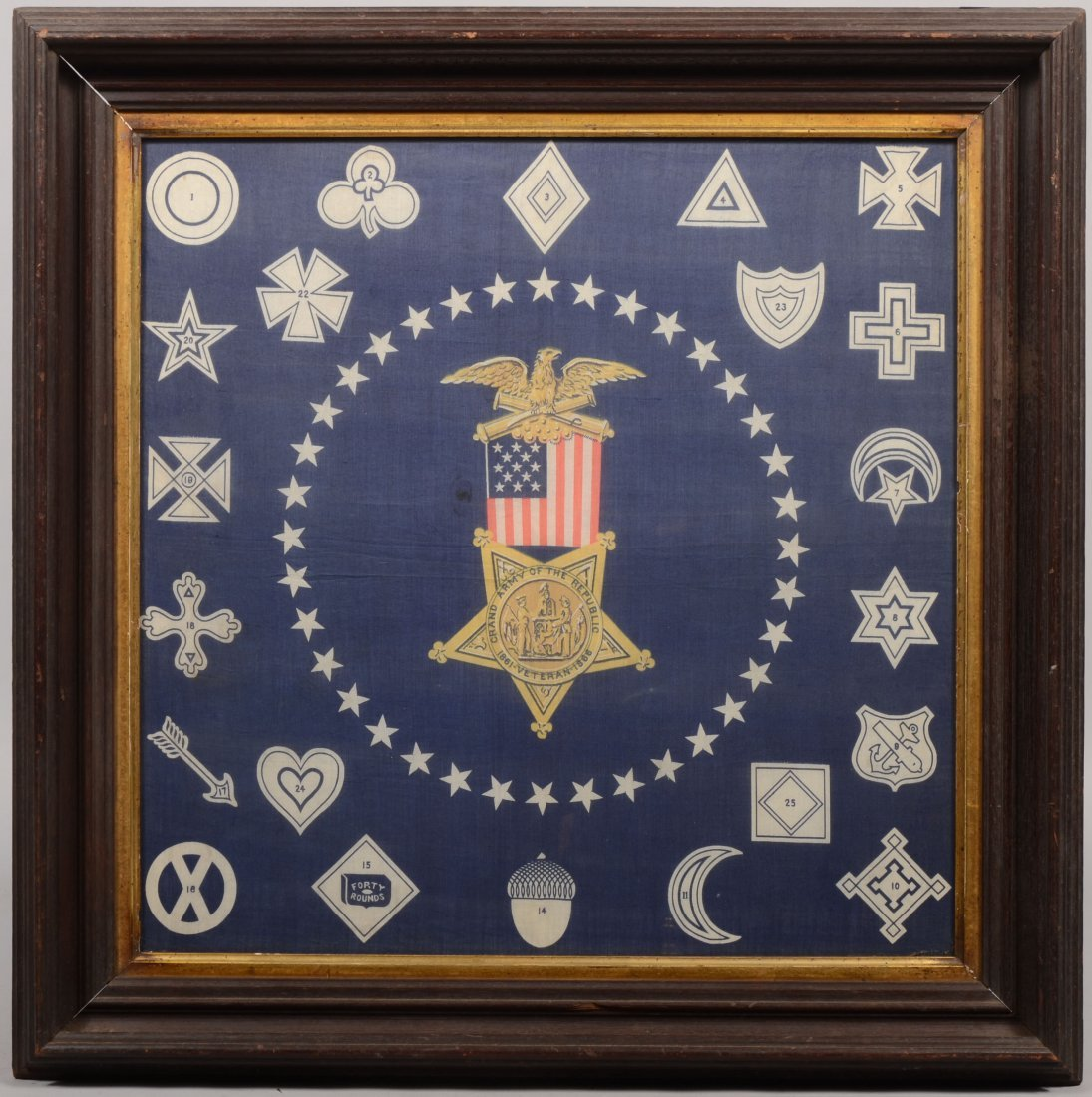 18: Printed GAR Fabric Kerchief of Union Corps Badges.