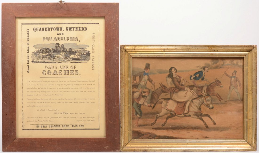 19: Two Framed Prints. A colored print of a donkey race