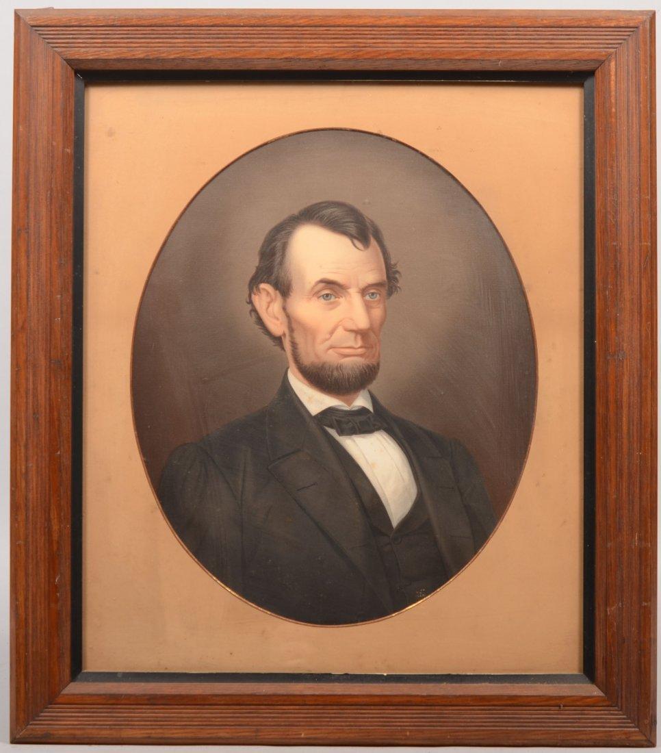 20: Abraham Lincoln Color Lithographic Portrait. Mounte