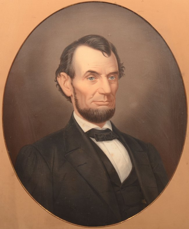 20: Abraham Lincoln Color Lithographic Portrait. Mounte ...