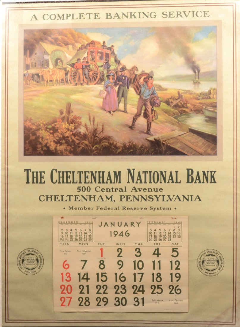 """21: Large Illustrated Bank Calender. For """"The Cheltenha"""