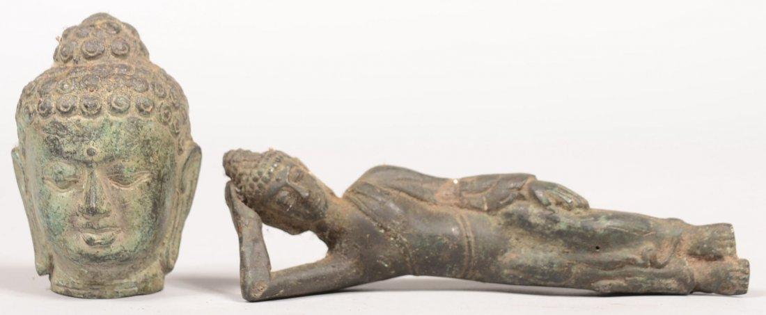 79: Two Cast Bronze Hindu Shiva Figures. A reclining fi