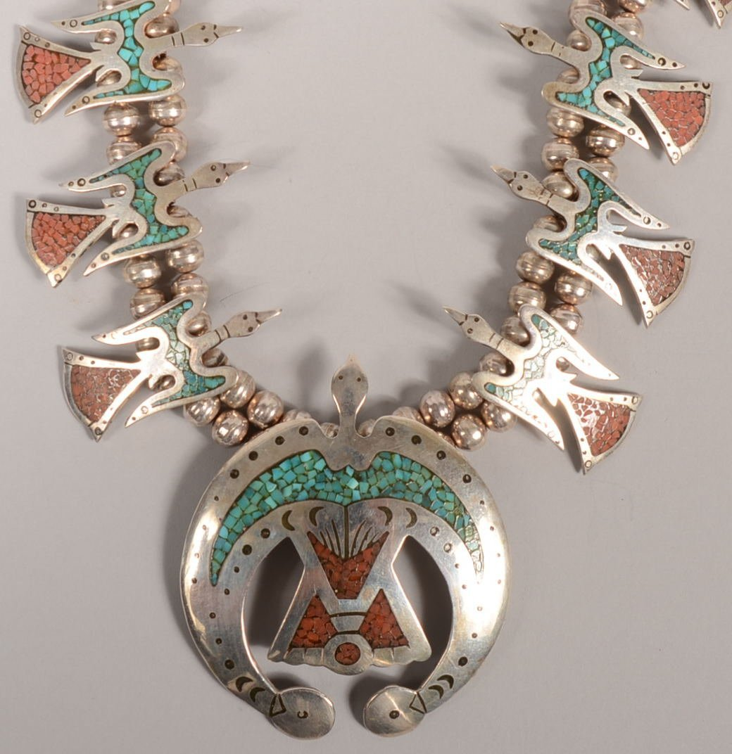 221: Vintage Navajo Peyote Bird Silver, Turquoise and C