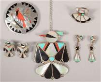 239 Lot of Zuni Silver Mother of Pearl Turquoise and
